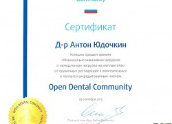 Сертификат Open Dental Community. Юдочкин А.Ю.